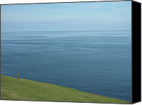 Cornwall Canvas Prints - Person Looking Out To Sea In Cornwall Canvas Print by Thepurpledoor