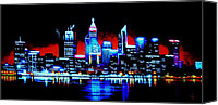 Skylines Painting Canvas Prints - Perth by Black Light   SOLD Canvas Print by Thomas Kolendra