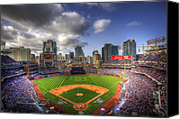 Baseball Canvas Prints - Petco Park Opening Day Canvas Print by Shawn Everhart