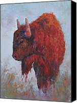 Bison Pastels Canvas Prints - Pete Canvas Print by Susan Williamson