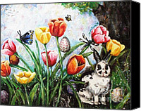 Easter Bunny Painting Canvas Prints - Peters Easter Garden Canvas Print by Shana Rowe