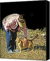 Human Being Canvas Prints - Petting the Ranch Cat Canvas Print by Lenore Senior and Dawn Senior-Trask