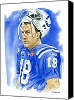Athletes Canvas Prints - Peyton Manning - Heart of the Champion Canvas Print by George  Brooks
