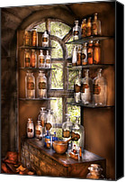 Glass Bottles Canvas Prints - Pharmacist - Various Potions Canvas Print by Mike Savad