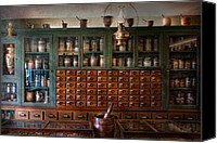 Drawers Canvas Prints - Pharmacy - Right behind the counter Canvas Print by Mike Savad