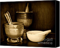 Stoneware Canvas Prints - Pharmacy - Mortars and Pestles - black and white Canvas Print by Paul Ward