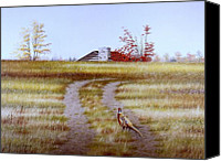 Egg Tempera Canvas Prints - Pheasant Country. Canvas Print by Conrad Mieschke