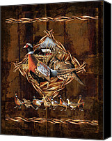 Pheasant Painting Canvas Prints - Pheasant Lodge Canvas Print by JQ Licensing