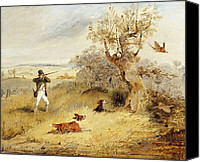 Dogs Painting Canvas Prints - Pheasant Shooting Canvas Print by Henry Thomas Alken