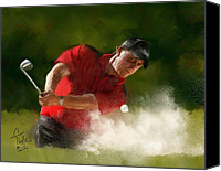 Greens  Mixed Media Canvas Prints - Phil Mickelson - Lefty in Action Canvas Print by Colleen Taylor