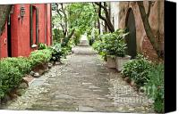 Old Photo Canvas Prints - Philadelphia Alley Charleston Pathway Canvas Print by Dustin K Ryan