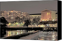 Deborah Crew-johnson Canvas Prints - Philadelphia Art Museum in Pastel Canvas Print by Deborah  Crew-Johnson