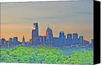 Philadelphia Skyline Canvas Prints - Philadelphia at Sunrise Canvas Print by Bill Cannon