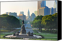 Art Museum Canvas Prints - Philadelphia Benjamin Franklin Parkway Canvas Print by Bill Cannon