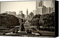 City Hall Canvas Prints - Philadelphia Benjamin Franklin Parkway in Sepia Canvas Print by Bill Cannon