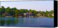 Boathouse Canvas Prints - Philadelphia Boat House Row Canvas Print by Bill Cannon