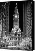 Architectural Detail Canvas Prints - Philadelphia City Hall at Night Canvas Print by Val Black Russian Tourchin