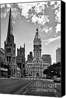 Black Canvas Prints - Philadelphia City Hall BW Canvas Print by Susan Candelario