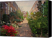 Phillie Canvas Prints - Philadelphia Courtyard - Symphony of Springtime Gardens Canvas Print by Carol Senske