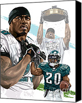 Football Digital Art Canvas Prints - Philadelphia Eagles Legend Brian Dawkins Canvas Print by David E Wilkinson