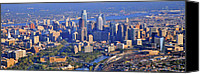 Aerial Canvas Prints - Philadelphia Museum of Art and City Skyline Aerial Panorama Canvas Print by Duncan Pearson