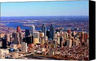Aerial Canvas Prints - Philadelphia Skyline 2005 Canvas Print by Duncan Pearson