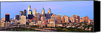 Philadelphia Skyline Canvas Prints - Philadelphia Skyline at Dusk Sunset Pano Canvas Print by Jon Holiday