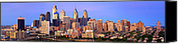Philadelphia Skyline Canvas Prints - Philadelphia Skyline at Sunset Dusk Wide Pano Canvas Print by Jon Holiday
