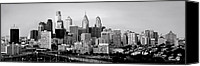 Philadelphia Skyline Canvas Prints - Philadelphia Skyline Black and White BW Pano Canvas Print by Jon Holiday