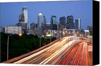 Philadelphia Skyline Canvas Prints - Philadelphia Skyline Night Canvas Print by Binh Ly