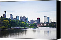 Kelly Digital Art Canvas Prints - Philadelphia View from the Girard Avenue Bridge Canvas Print by Bill Cannon