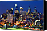 Philadelphia Skyline Canvas Prints - Philadelpia Skyline at Night Canvas Print by Jon Holiday