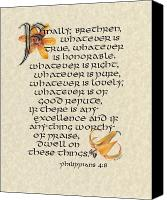Bible Mixed Media Canvas Prints - Philippians Calligraphy Canvas Print by Betsy Gray