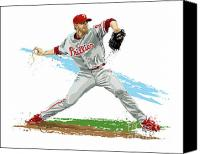 Award Digital Art Canvas Prints - Phillies Ace Roy Halladay Canvas Print by David E Wilkinson