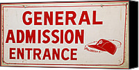 Phillies Canvas Prints - Phillies General Admission Sign from Connie Mack Stadium Canvas Print by Bill Cannon
