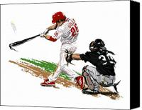 Phillies Art Digital Art Canvas Prints - Phillies MVP Chase Utley Canvas Print by David E Wilkinson