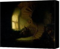 Spiral Staircase Canvas Prints - Philosopher in Meditation Canvas Print by Rembrandt
