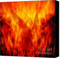 Yellow Canvas Prints - Phoenix Rising Canvas Print by Andrew Paranavitana