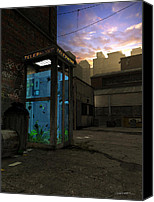 Phone Canvas Prints - PhoneBooth Canvas Print by Cynthia Decker