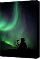 Aurora Borealis Canvas Prints - Photographer Catching Beautiful Light Canvas Print by Lars Mathisen Photography