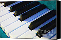 Blues Digital Art Canvas Prints - Piano Keys . v2 . Blue Canvas Print by Wingsdomain Art and Photography