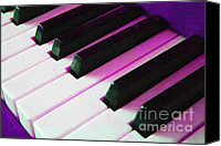 Orchestra Digital Art Canvas Prints - Piano Keys . v2 . Purple Canvas Print by Wingsdomain Art and Photography