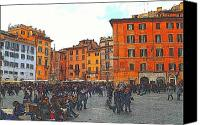 Crowd Scene Canvas Prints - Piazza della Rotunda in Rome 2 Canvas Print by Jen White