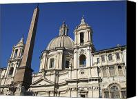 Rome Canvas Prints - Piazza Navona. Navona Place. Church St. Angnese in Agona and egyptian obelisk. Rome Canvas Print by Bernard Jaubert