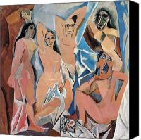 Picasso Painting Canvas Prints - Picasso Demoiselles 1907 Canvas Print by Granger