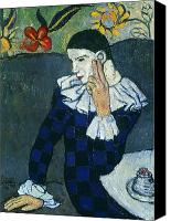 Picasso Painting Canvas Prints - Picasso Harlequin 1901 Canvas Print by Granger