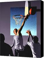 Sports Drawings Canvas Prints - Pick Up Game Canvas Print by Gerard Fritz