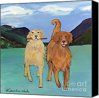 Retrievers Canvas Prints - Pick-Up Sticks Canvas Print by Pat Saunders-White