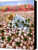 African American Canvas Prints - Picking Cotton Canvas Print by Barbel Amos