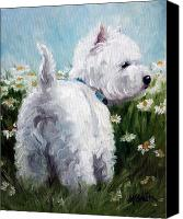Westies Canvas Prints - Picking Daisies Canvas Print by Mary Sparrow Smith